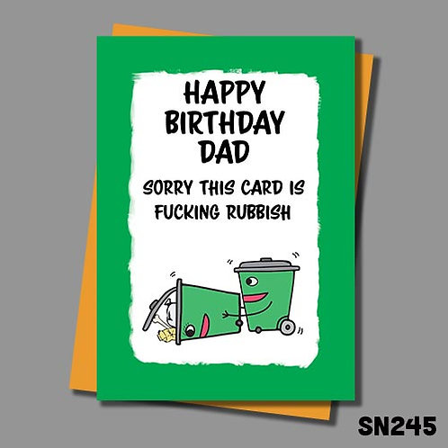 Sorry this card is fucking rubbish Birthday card for Dad from Jolly Ginger Cards.