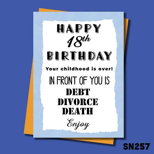 Debt, divorce and death funny 18th birthday card.