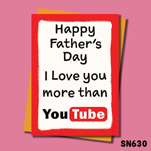 I love you more than youtube Father's Day card.
