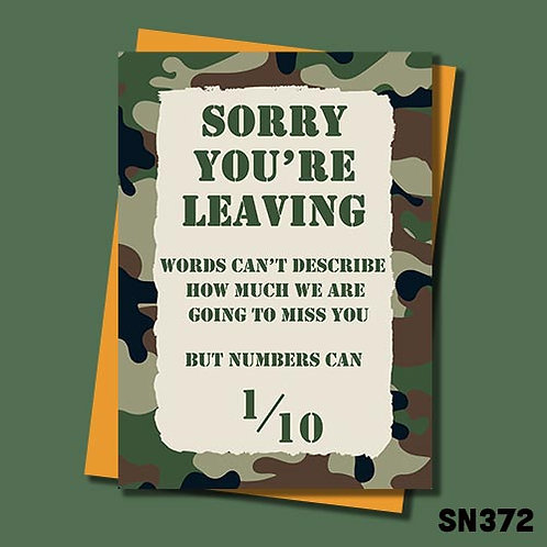 Military themed leaving card - words can't describe how much we will miss you.