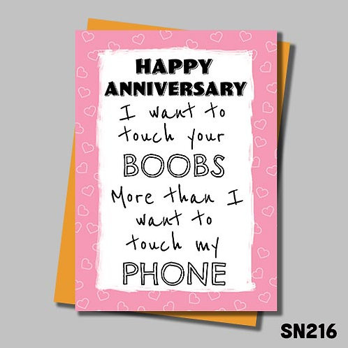 I want to touch your boobs funny anniversary card from Jolly Ginger Cards.