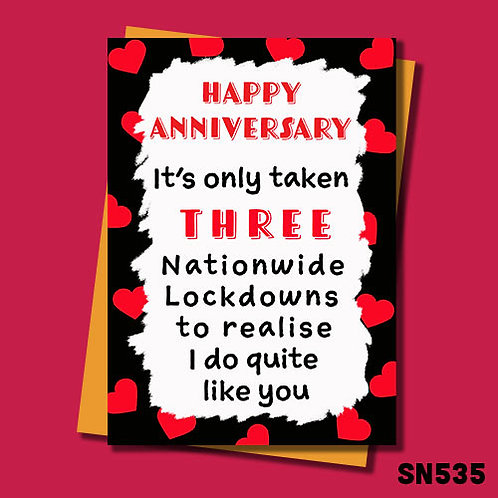 It's only taken 3 lockdowns to realise I do quite like you funny anniversary card.