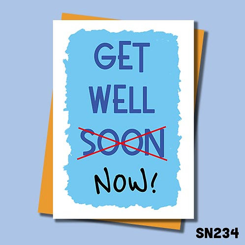 Get well now card in blue from Jolly Ginger Cards.