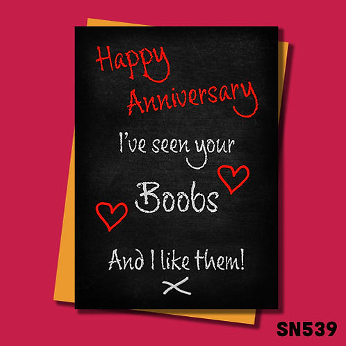 I've seen your boobs and I like them funny anniversary card.