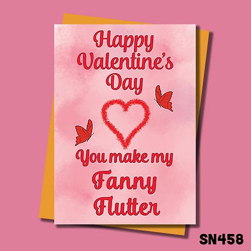 Fanny flutter valentines day card from Jolly Ginger Cards.