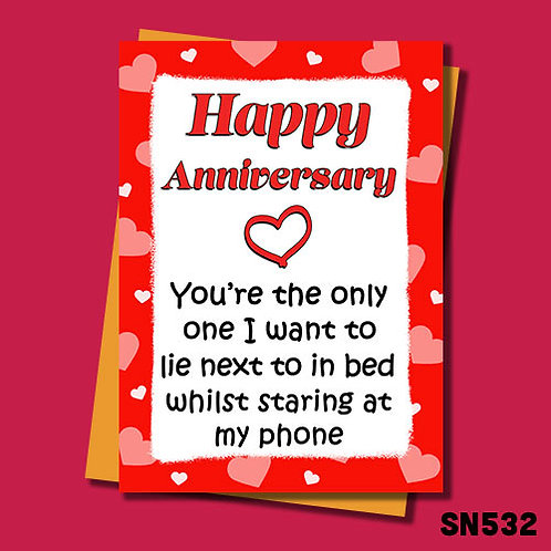 You're the only one I want to lie next to whilst on my phone anniversary card.