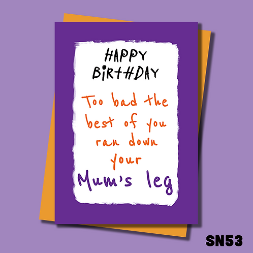 Offensive and funny Birthday card. The best of you ran down your Mum's leg. SN53.
