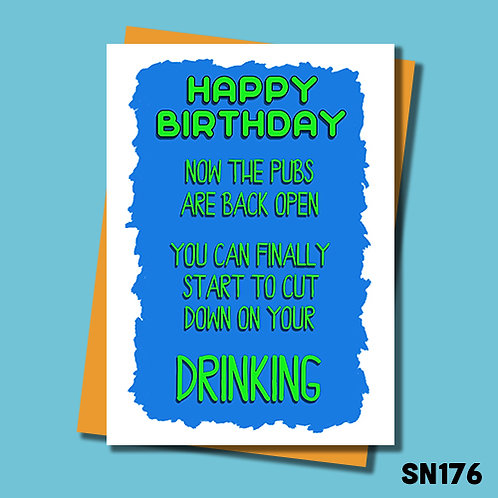 Pubs opening birthday card