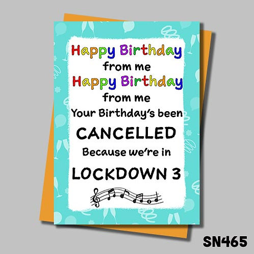 Lockdown 3 birthday song card from Jolly Ginger cards.