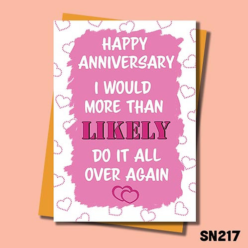 Do it all over again funny anniversary card in pink.