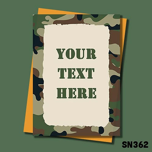 personalised military themed greeting card.