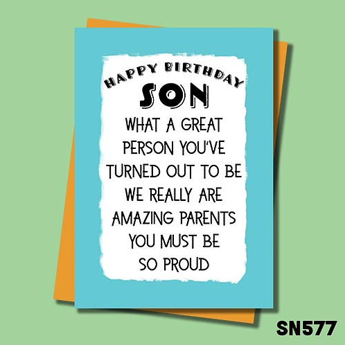 We really are amazing parents you must be so proud funny birthday card.