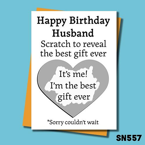 Scratch to reveal the best gift ever funny birthday card for husband.