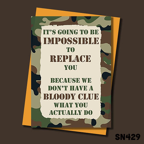 Impossible to replace Military themed leaving card from Jolly Ginger Cards.