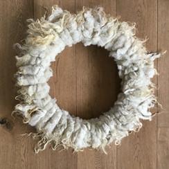 krans 54 cm, witte Racka schapenwol