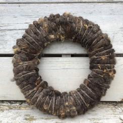 krans 28 cm, bruine Texelse schapenwol