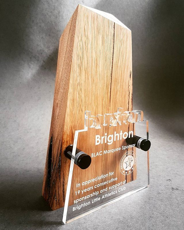 Custom timber and acrylic trophy