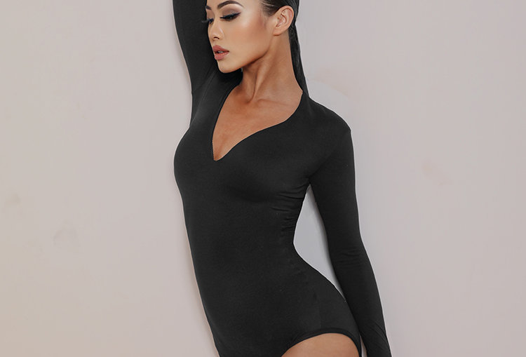 Deep V Bodysuit #2068
