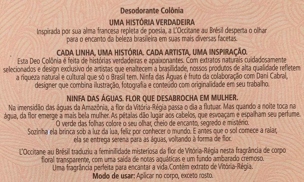 Ninfa das Águas Deo Colônia L'Occitane au Brésil