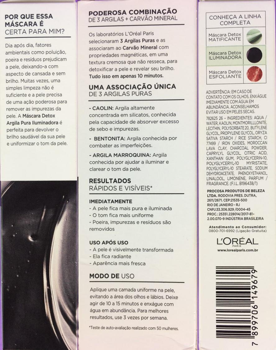 Ingredientes Máscara Detox Argila Pura Iluminadora L'Oréal Paris