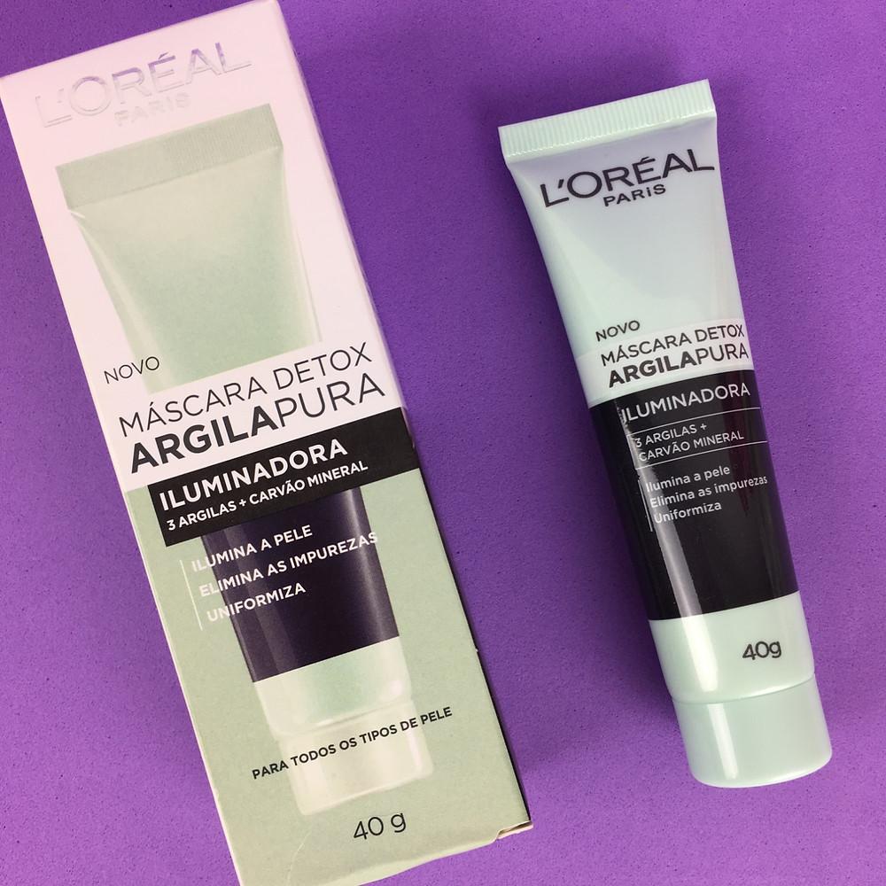 Apresentação Máscara Detox Argila Pura Iluminadora L'Oréal Paris