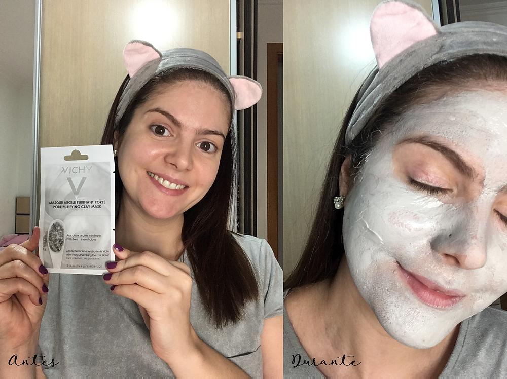 antes e depois Máscara mineral de argila purificante da Vichy