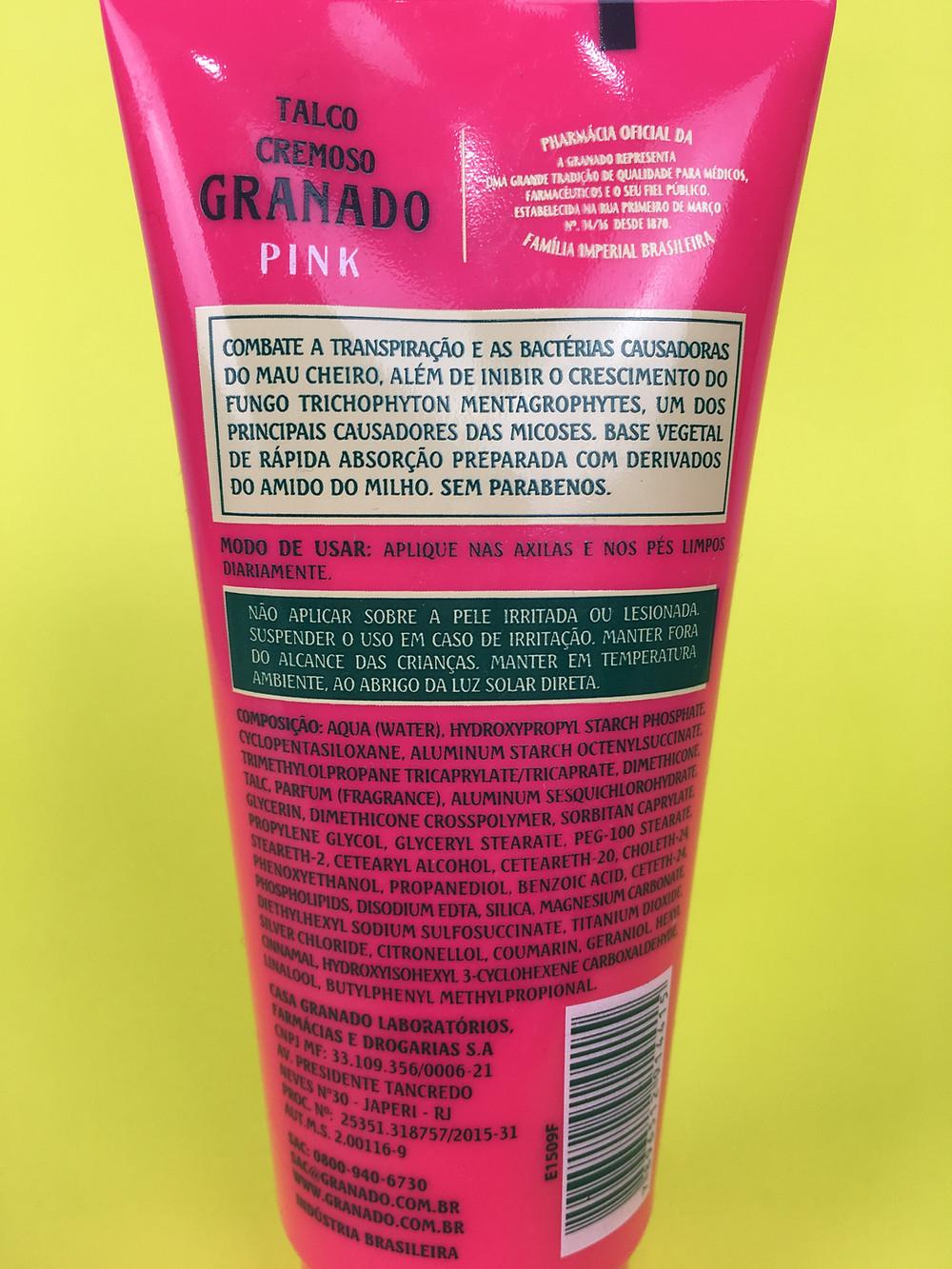 Ingredientes Talco cremoso antisséptico Granado Linha Pink