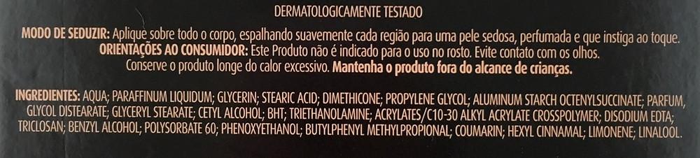 Creme hidratante Premium Prélude Eudora Ingredientes