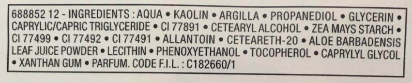 Ingredientes Máscara mineral de argila purificante da Vichy