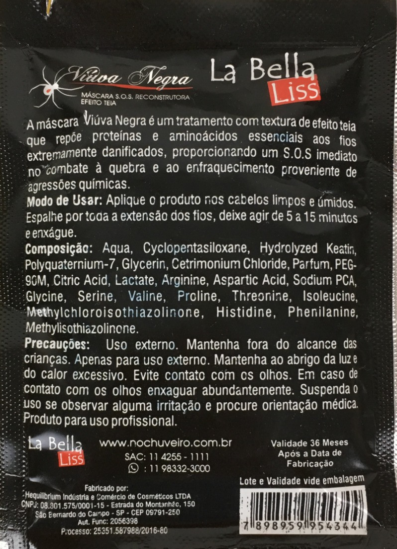 Ingredientes Viúva Negra La Bella Liss | Máscara S.O.S. Reconstrutora Efeito Teia