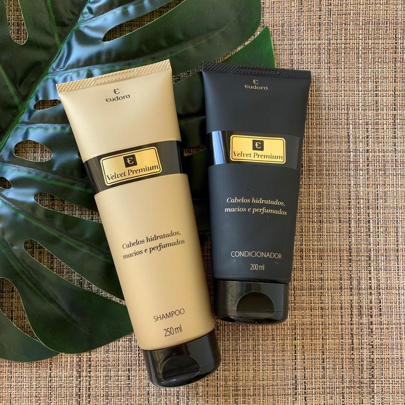 Kit Velvet Premium Eudora   Shampoo e condicionador