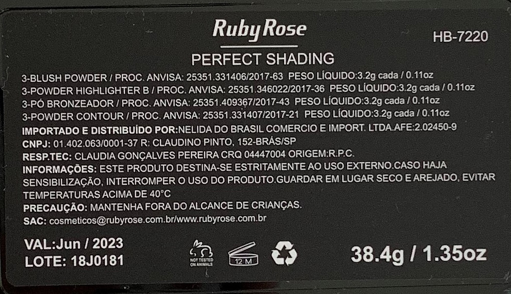 Paleta Perfect shading Ruby Rose - Resenha