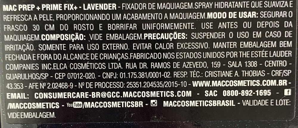 Brume Fixante Lavanda M.A.C. Cosmetics