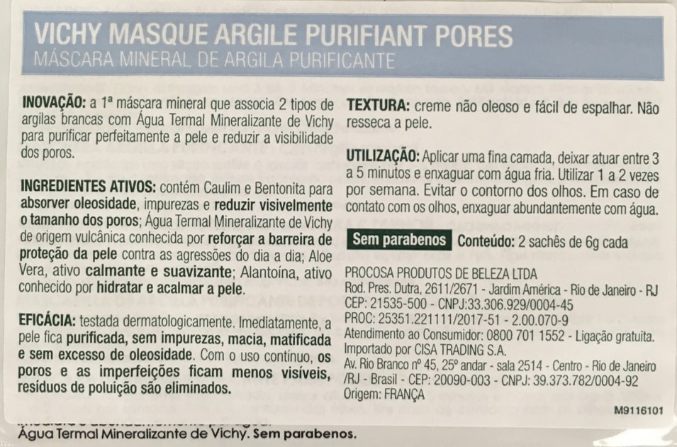 Informações Máscara mineral de argila purificante da Vichy