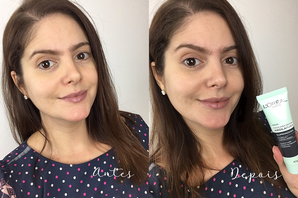 Antes e depois Máscara Detox Argila Pura Iluminadora L'Oréal Paris