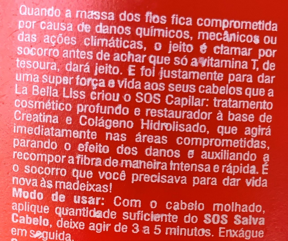Máscara capilar SOS SALVA CABELO La Bella Liss