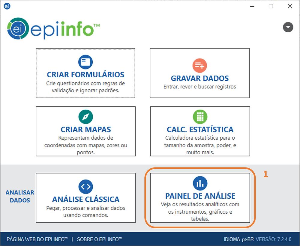 Como definir a fonte de dados no painel de análise do Epi Info 7