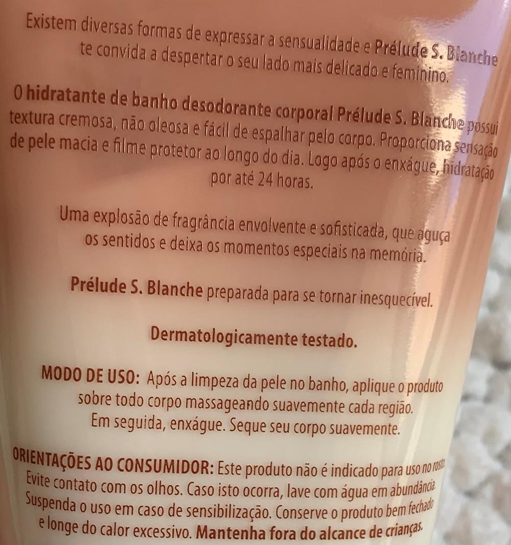 IHidratante corporal de banho Prélude S. Blanche Eudora