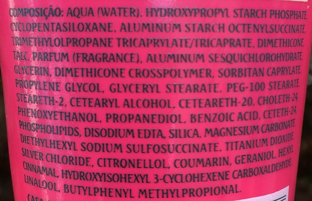 Ingredientes talco cremoso antisséptico Granado Linha Pink, 100 g