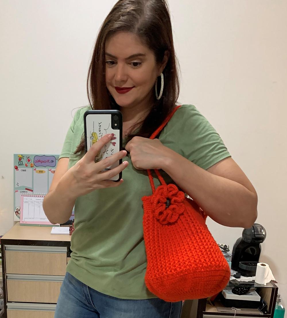 #3 Bolsa saco de crochê feito na pandemia do Covid-19