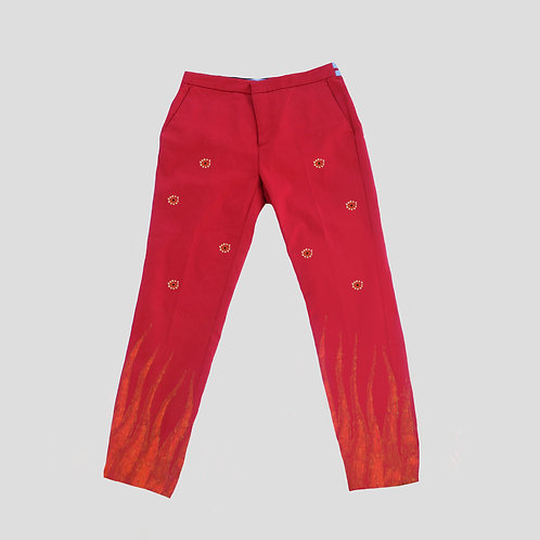 Red Viscose Trousers