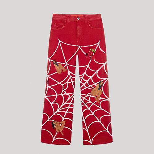 PRINTED RED DENIM PANTS