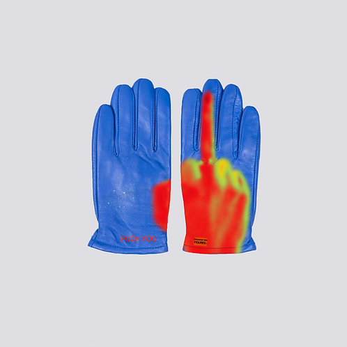 Blue Faux leather gloves
