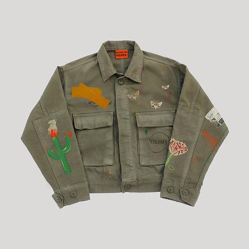 Printed washed-out denim jacket