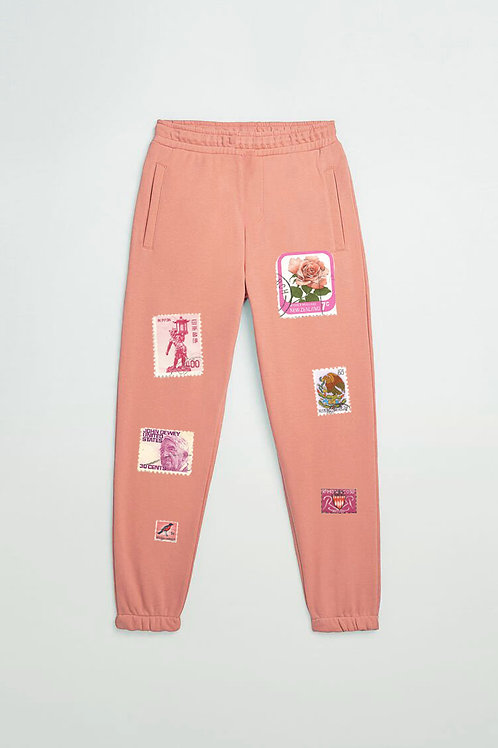Vintage stamps joggers