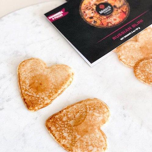 """Handmade  Heart-shaped BLINIS  2.75"""" / 7cm"""