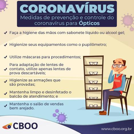 CORONAVÍRUS PREVENÇÃO ÓPTICOS