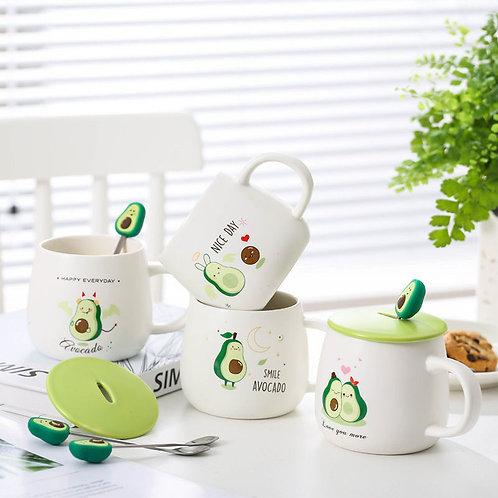 Coffee Mug With Lid Coffee Cup With Spoon Cartoon Avocado Ceramic Mug Cup Set