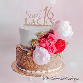 Fresh peonies & rose cake