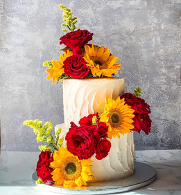 Sunflower & Red Rose Wedding Cake
